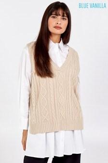 Blue Vanilla Light Grey V-Neck Cable Knit Sleeveless Vest