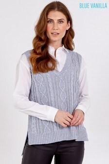 Blue Vanilla Grey V-Neck Cable Knit Sleeveless Vest