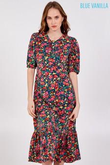 Blue Vanilla Navy Puff Short Slv Flower Print Frill Dress