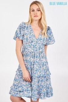 Blue Vanilla Blue Frill Details V Neck Angel Slv Tiered Dress