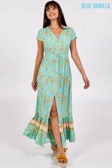 Blue Vanilla Green Shirring Waist Button Through Dress