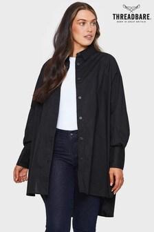 Threadbare Black Sheila Oversized Shirt Dress