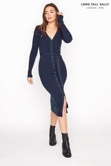 Long Tall Sally Navy Button Through Knitted Cardigan Dress