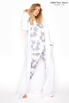 Long Tall Sally White Cotton Towelling Maxi Robe