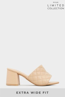 Yours Limited Nude Quilted Heeled Mules In Extra Wide Fit