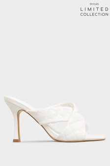 Yours Limited White Cross Quilted Stiletto Mules In Extra Wide Fit