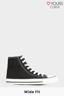Yours Black Canvas High Top Trainer in Wide Fit