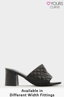 Yours Limited Black Quilted Heeled Mules In Extra Wide Fit