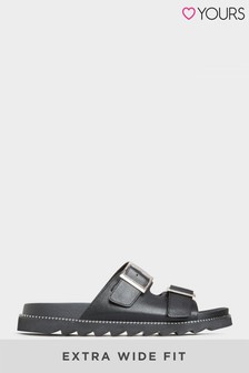 Yours Black Stud Buckle Sandal In Extra Wide Fit