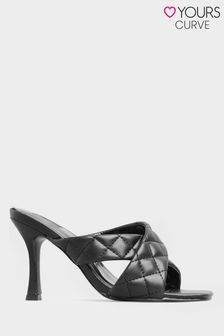 Yours Limited Black Cross Quilted Stiletto Mules In Extra Wide Fit