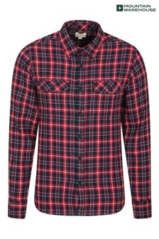 Mountain Warehouse Red Trace Mens Flannel Long Sleeve Shirt