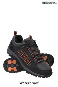 Mountain Warehouse Pure Black Path Waterproof Mens Walking Shoes