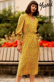 Yumi Yellow Floral 'Gemma' Midi Dress