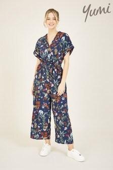 Yumi Blue Yumi Animal Print Shirt Jumpsuit