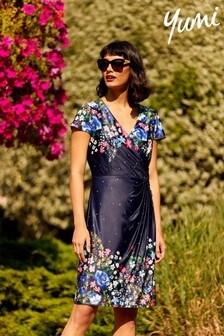 Yumi Blue Floral Jersey 'Josie' Bodycon Dress