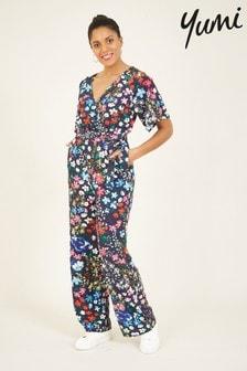 Yumi Black Floral Wrap Jumpsuit