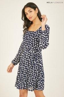Mela Navy London Rose Printed Cowl Neck Midi Dress