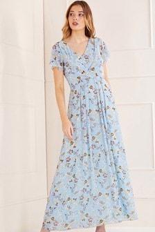 Mela Blue London Floral Wrap Front Detail Maxi Dress