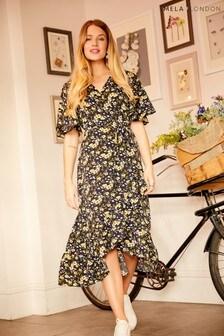 Mela Navy London Floral Satin Wrap Effect Midi Dress