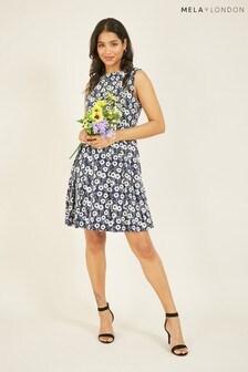Mela Navy London Floral Printed Belted Dress