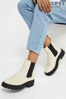 Lipsy Cream Chunky Chelsea Ankle Boot