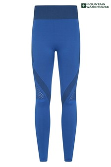 Mountain Warehouse Blue Track Womens High Waisted Seamless Sports Leggings