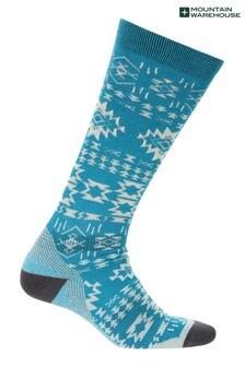 Mountain Warehouse Blue Polar Patterned Womens Technical Ski Socks