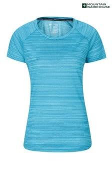 Mountain Warehouse Blue Endurance Striped Womens Sports T-Shirt