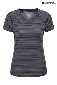 Mountain Warehouse Black Endurance Striped Womens Sports T-Shirt