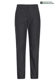 Mountain Warehouse Black Hiker Womens Lightweight Stretch, UV Protect Walking Trousers - Short Length