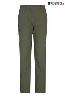 Mountain Warehouse Khaki Hiker Womens Lightweight Stretch, UV Protect Walking Trousers - Short Length