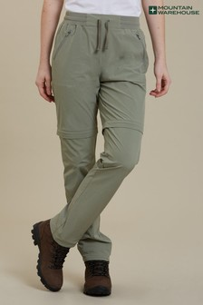 Mountain Warehouse Khaki Explorer Womens Zip-Off Convertible Walking Trousers