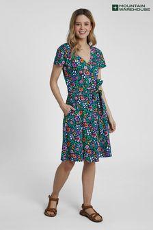 Mountain Warehouse Blue Santorini Womens Summer Lightweight Jersey Wrap Dress
