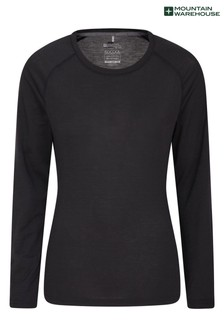 Mountain Warehouse Black IsoCool Dynamic Womens Relaxed Fit Sports Top