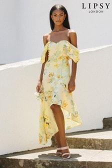 Lipsy Yellow Printed Cold Shoulder Dress