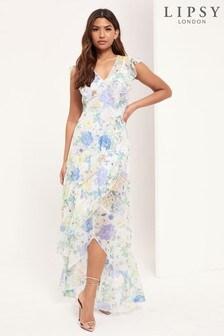 Lipsy White Printed V Neck Maxi Dress