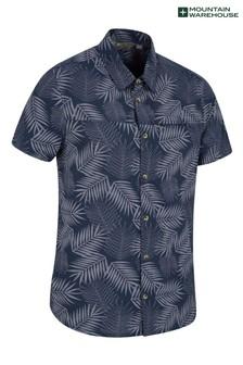 Mountain Warehouse Navy Tropical Printed Mens Short Sleeved Shirt