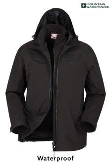 Mountain Warehouse Black Urban Extreme Recycled 3-in-1 Mens Waterproof and Breathable Jacket