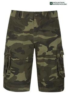 Mountain Warehouse Khaki Mens Camo 100% Cotton Lightweight Cargo Shorts