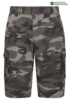 Mountain Warehouse Black Mens Camo 100% Cotton Lightweight Cargo Shorts