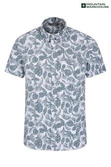 Mountain Warehouse Teal Tropical Printed Mens Short Sleeved Shirt