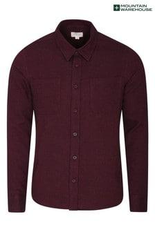 Mountain Warehouse Burgandy Trace Melange Mens Slim-Fit Flannel Shirt