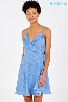 Blue Vanilla Blue Cami Frill Polka Dot Wrap Dress