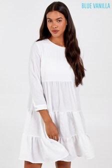 Blue Vanilla White Textured Tiered Dress