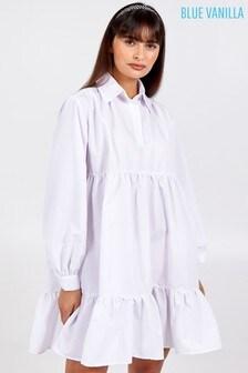 Blue Vanilla White Button Front Long Slv Smock Dress