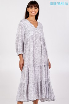 Blue Vanilla Grey Tiered Hem Animal Print Midi Dress