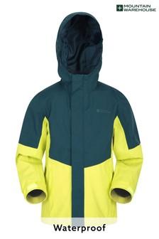 Mountain Warehouse Green Meteor Kids Waterproof, Breathable Outdoor Jacket