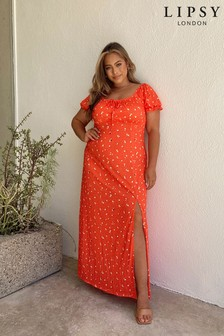 Lipsy Red Floral Curve Jersey Milkmaid Maxi Dress