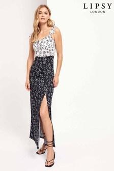 Lipsy Floral 2 in 1 Tie Strap Maxi Dress