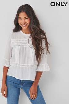 Only White Broderie Detail Smock Top